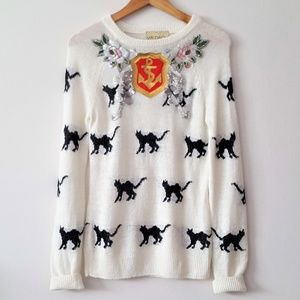 WILDFOX WHITE LABEL EMBELLISHED KITTY KNIT SWEATER